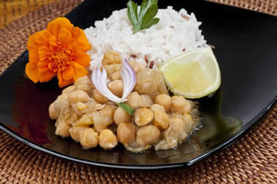 Asian Jerked Chickpeas with Coconut Caribbean Brown Rice